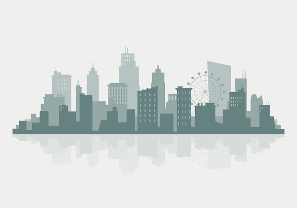 Green and beige silhouette cityscape background vector